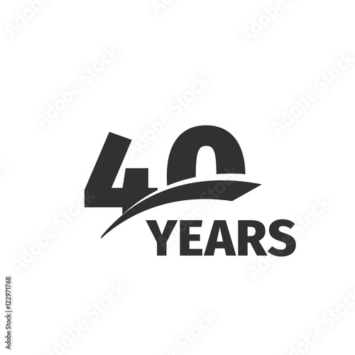 Poster  Isolated abstract black 40th anniversary logo on white background