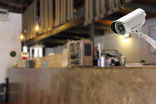 CCTV Camera Security  In A Counter Bar At Hotel.