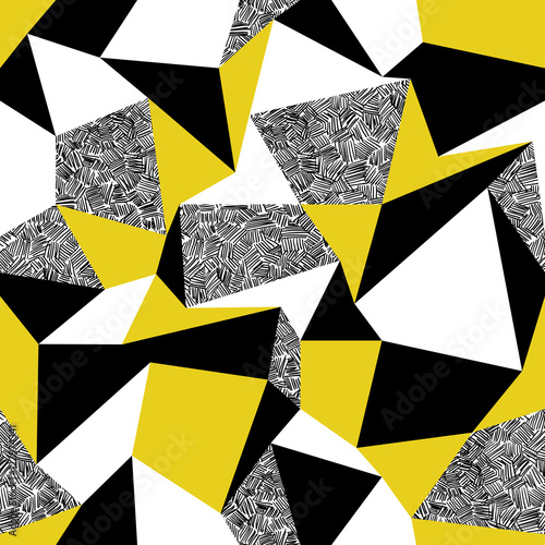 Leinwand Poster  Yellow triangles. Geometric seamless pattern in retro style. Vin