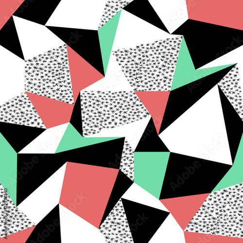 Pink and green triangles pattern design. Seamless print in retro