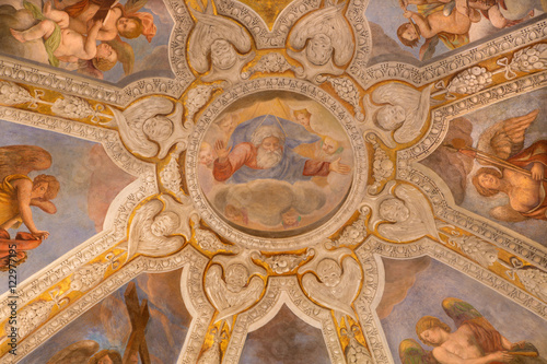 Fotografie, Obraz  ROME, ITALY - MARCH 9, 2016: The Stories of the Cross fresco by Pieter van Lindt (1637) on the ceiling of Chapel of most holy Crucifix in church Basilica di Santa Maria del Popolo