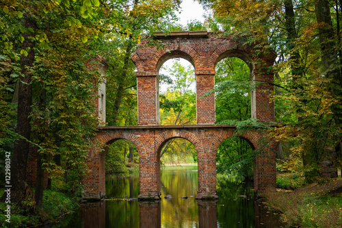 Aqueduct in the  sentimental and romantic Arkadia park,  near Nieborow, Central Poland, Mazovia Canvas Print