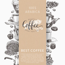 Coffee Vector Set. Illustrations In Sketch Style.
