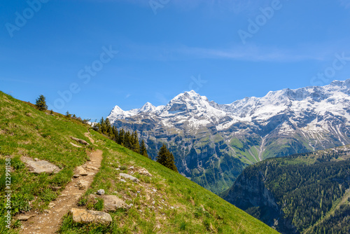 Photo  Beautiful landscape of valley in Alpine mountains, small trail, hike root, majes