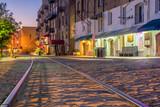 Fototapeta Sawanna - Shops and restaurants at River Street in downtown Savannah in Ge