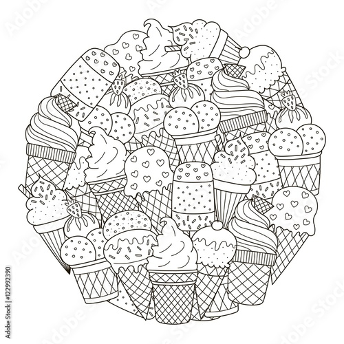 Circle shape pattern with cute ice creams for coloring book