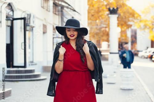 Street fashion, plus size model Canvas Print