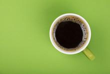 Americano Black Coffee In Full Big Cup On Green
