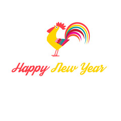 Greeting Christmas card with a rooster