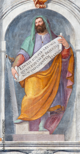 ROME, ITALY - MARCH 11, 2016: The prophet Ezekiel fresco in church Basilica di San Vitale by Tarquinio Ligustri (1603) Canvas Print