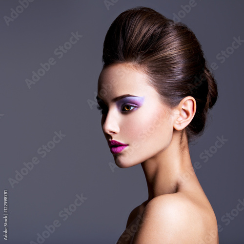 Poster Beauty Fashion portrait of a beautiful girl with creative hairstyle an