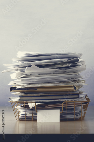 Wire Office Tray Piled Up with Papers Canvas-taulu