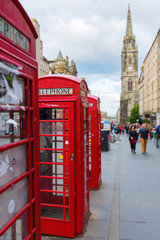 red phone boxes on the Royal Mile in Edinburgh, Scotland