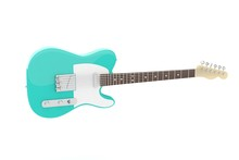 Isolated Turquoise Electric Guitar On White Background. Concert And Studio Equipment. Musical Instrument. Rock, Blues Style. 3D Rendering.