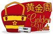 Beauty Woman's Beach Purse with Tickets for Chinese Golden Week, Vector Illustration