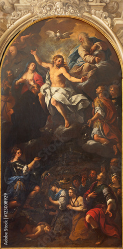 Fotografie, Obraz  BRESCIA, ITALY - MAY 22, 2016: The painting of resurrected Christ among the saints in Duomo Nuovo by unknown artist of 17