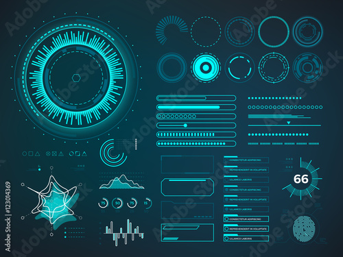 Fotomural Futuristic user interface HUD. Infographic vector elements