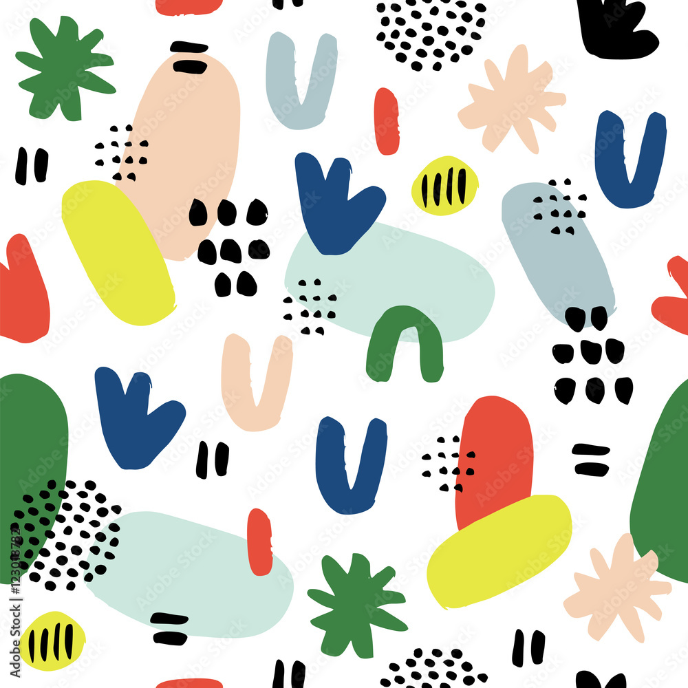 Hand drawn seamless pattern in modern style.  Design for poster, card, invitation, placard, brochure, flyer, textile.