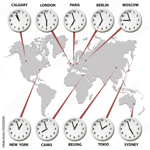 World map with time zones world capitals - Buy this stock ...