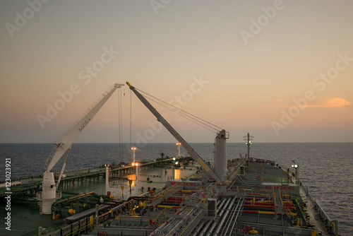 Crude oil tanker operation STS at sea