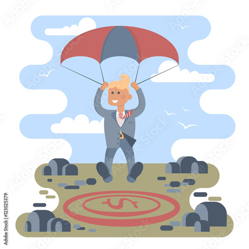 In de dag Regenboog Businessman with parachute focus to landing on a money icon target in the middle of the stones. Vector illustration business success concept. Character design.