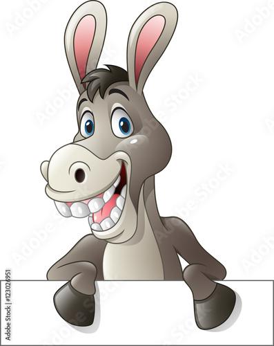 Carta da parati Cartoon funny donkey holding blank sign