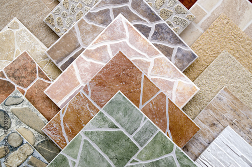 Tablou Canvas Samples of a colorful ceramic tile closeup