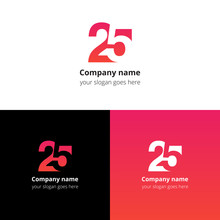 25 Logo Icon Flat And Vector Design Template. Monogram Numbers Two And Five. Logotype Twenty-five With Gradient Color. Creative Vision Concept Logo, Elements, Sign, Symbol For Card, Brand, Banners.