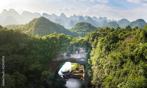 Tuinposter China Xiangqiao cave panoramic view, Guangxi, China