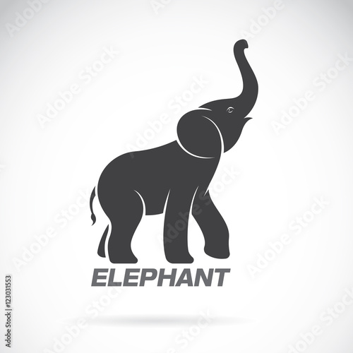 Photo  Vector of an elephant design on a white background. Elephant Log