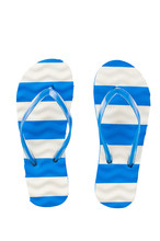 Beach Flip Flops With Blue Stripes On A White Background