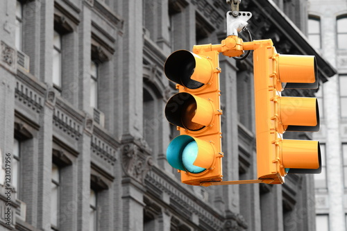 Deurstickers New York TAXI Traffic Light in New York
