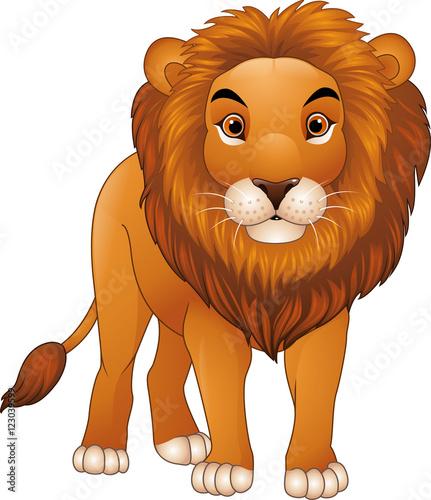 Foto op Aluminium Zoo Cartoon lion mascot isolated on white background