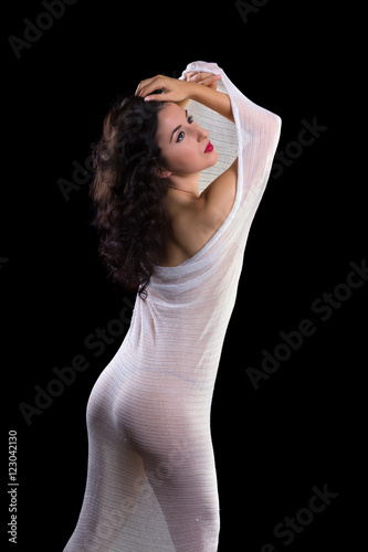 Fotografija  Gorgeous model in white sheer fabric