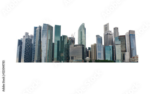 Cityscape of building isolated on white background