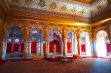 JODHPUR, INDIA -  Interior Mughal Architectural Details Of Mehrangarh Fort,  Dating From The Period Of Jaswant Singh.(Phool Mahal)