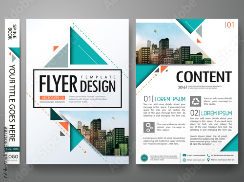 Flyers Design Template VectorBrochure Report Business Magazine PosterAbstract Green Cover Book Portfolio