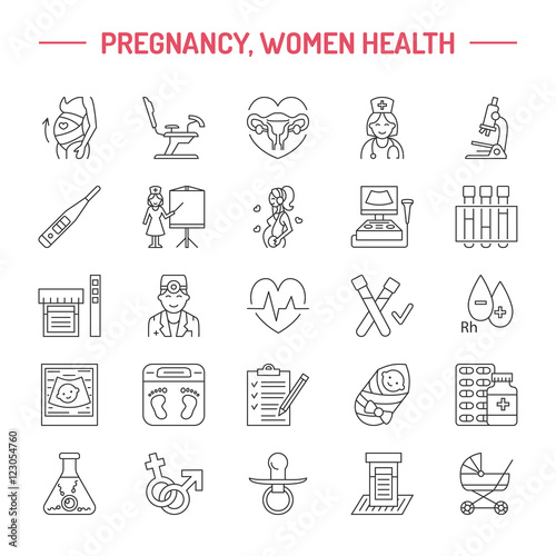 Modern vector line icon of pregnancy, fertility and obstetrics ...