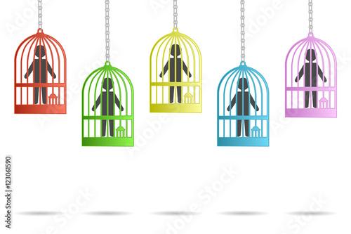 Poster de jardin Oiseaux en cage icons hung men and caged