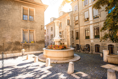 Small fountain in the old town of Geneva city in Switzerland Canvas Print