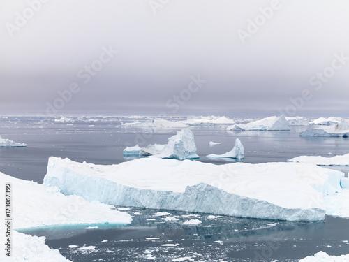 Fotobehang Gletsjers Icebergs on arctic ocean in Ilulissat icefjord, Greenland