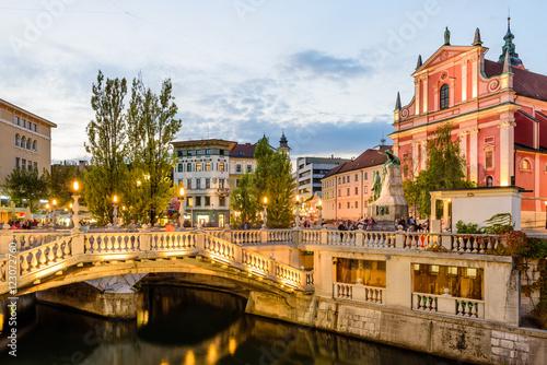 Tromostovje in the city center in the soft evening light, Ljubljana, Slovenia.