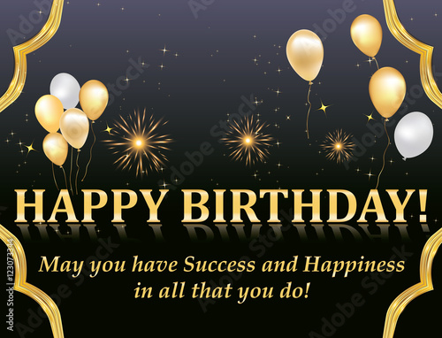 Happy Birthday Card With Fireworks And Balloons For Your Boss Colleague Business Partners Print Colors Used