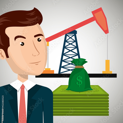 avatar business man wearing suit and tie and oil rig tower