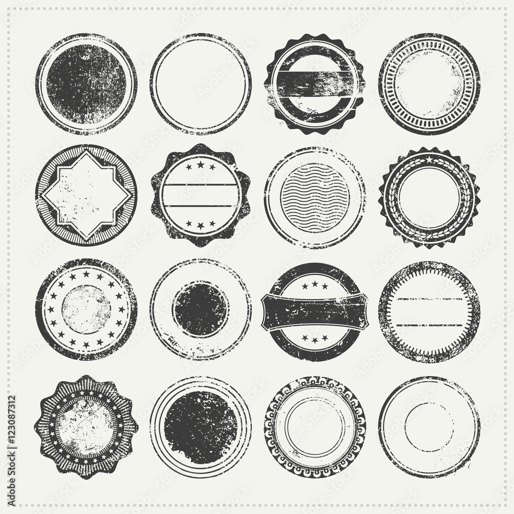 Fototapety, obrazy: collection of blank/empty grungy rubber stamps - vintage postage stamps, grunge promo badges or backgrounds for logo designs