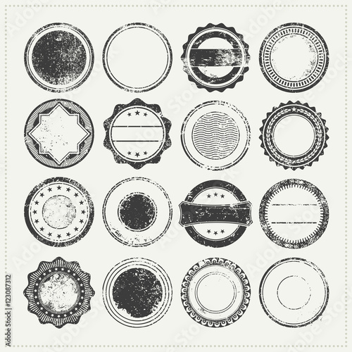 Canvas-taulu collection of blank/empty grungy rubber stamps - vintage postage stamps, grunge