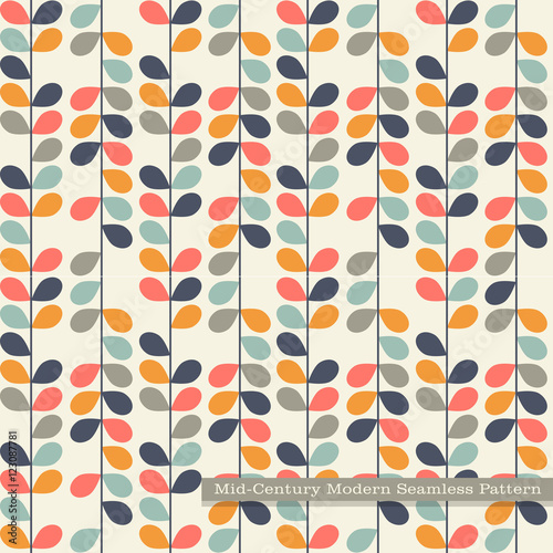 Deurstickers Kunstmatig seamless retro pattern in mid century modern style. Abstract vines in vintage colors.