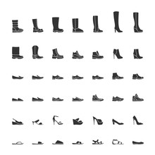 Black Shoes Icon Set, Men And ...
