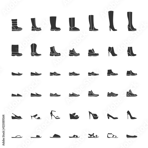 Fototapeta Black shoes icon set, men and women fashion shoes. Vector illustration obraz