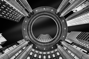 FototapetaFine Art, black and white, abstract, upward perspective of New York skyscrapers